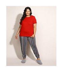 pijama feminino plus size com estampa étnica manga curta multicor