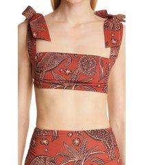 johanna ortiz tarija bikini top, size x-large in macondo achiote red chocolate at nordstrom