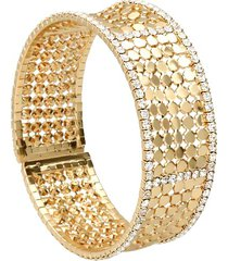 bracciale bangle con strass in metallo dorato per donna