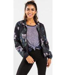 alaia floral track jacket - black