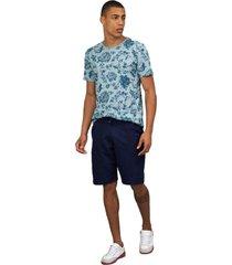 camiseta masculina floral azul - azul - masculino - dafiti