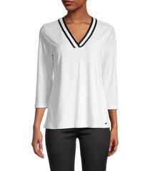 calvin klein women's v-neck three quarter-sleeve top - soft white - size xs