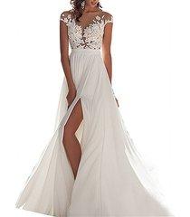 Cheap See Through Boho Wedding Dress White Beach Wedding Gown Bridal Dress Gown