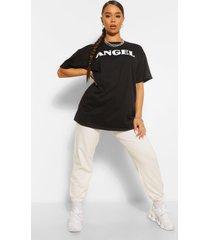 bandana print 'angel' slogan oversized t-shirt, black
