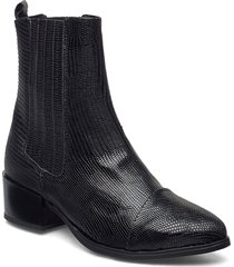 julia long lizzard shoes boots ankle boots ankle boot - heel svart pavement