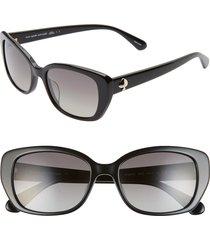 women's kate spade new york kenzie 53mm polarized cat eye sunglasses - black/ grey sf polz