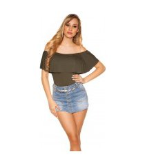 sexy basic off shoulder shirt khaki