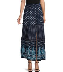 bila women's paisley tiered skirt - navy - size l