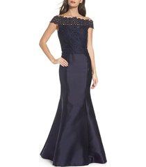 women's la femme lace & twill mermaid gown, size 16 - blue