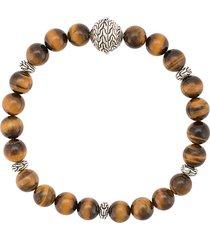 john hardy silver classic chain tiger eye round bead bracelet - brown
