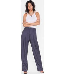 womens checked out of the situation high-waisted pants - blue