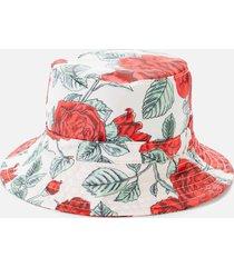 ganni women's rose print bucket hat - brazilian sand - m/l