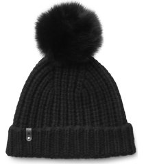 women's mackage cashmere & wool beanie with genuine fox fur pom -