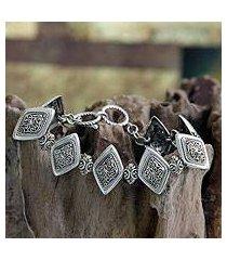 sterling silver link bracelet, 'ubud rice field' (indonesia)