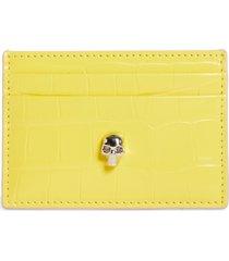 women's alexander mcqueen skull croc embossed leather card case - yellow
