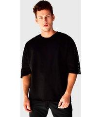 camiseta oversized em moletinho brohood manga curta preto - preto - masculino - algodã£o - dafiti