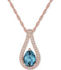 """blue topaz (1-1/4 ct. t.w.) & diamond (1/6 ct. t.w.) teardrop 18"""" pendant necklace in 14k white gold (also in london blue topaz & rhodolite garnet)"""