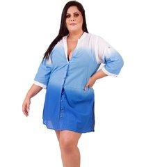 saída de praia  lavanda e alecrim plus size tie dye azul com manga - tricae
