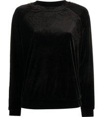emporio armani sequin side panel sweatshirt - black