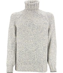 brunello cucinelli chiné turtleneck sweater with raglan sleeves