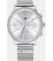 tommy hilfiger women's stainless steel watch wi mesh bracelet white sunray -
