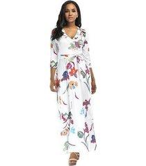 vestido largo de playa para mujer vestidos negros elegantes vestido ajustado de mujer con cuello en v vestido estampado floral con estampado femenino-blanco