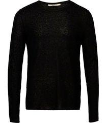 teiss cp long sleeved sweater feather cachemire stickad tröja m. rund krage svart zadig & voltaire