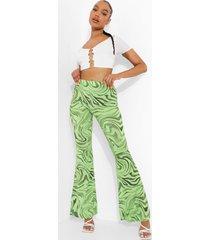 strakke marmerprint broek met wijde pijpen, green