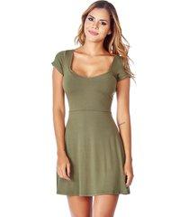 vestido corto escote en v verde militar