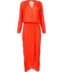 maxi jurk met plooien kim  rood