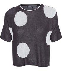 t-shirt feminina tricot bolas - preto