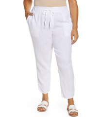 plus size women's caslon track style linen pants, size 3x - white
