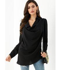 yoins negro classic blusa tejida de manga larga con cuello