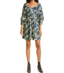 ba & sh winny palm print babydoll dress, size medium in bleu at nordstrom