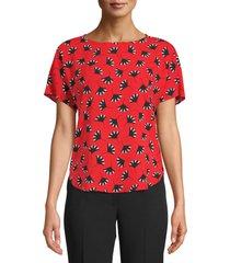 anne klein print blouse, size medium in poppy/anne black combo at nordstrom