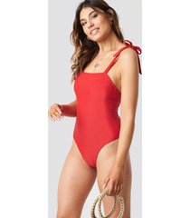 na-kd swimwear tie strap swimsuit - red