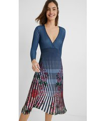 pleated dress floral - blue - xl