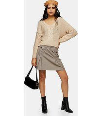 camel check split mini skirt - camel