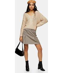 camel check split mini skirt - camel