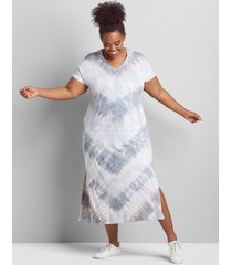 lane bryant women's livi short-sleeve tie dye hooded maxi dress 38/40 grisaille