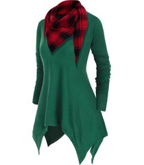 v neck handkerchief plus size knitwear with plaid scarf