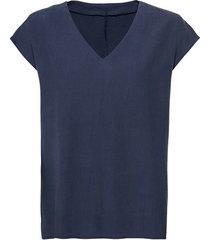 blouseshirt van tencel™ vezels met v-hals, nachtblauw 44