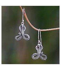 sterling silver dangle earrings, 'hooded cobra' (indonesia)