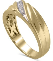 men's certified diamond (1/6 ct. t.w.) ring in 14k yellow gold