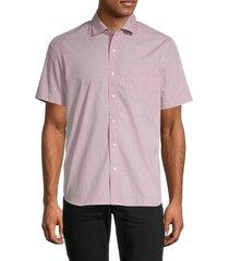 saks fifth avenue men's diamond plate-print shirt - white grout - size s