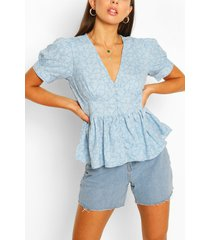 button through peplum puff sleeve woven top