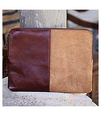 leather and suede laptop case, 'stunning tones' (indonesia)