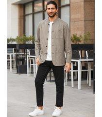 abrigo de manga larga con cuello alto y botón de moda para hombre