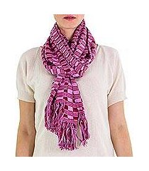cotton scarf, 'exotic in purple maroon' (guatemala)