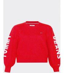 sweater logo detail rojo tommy jeans